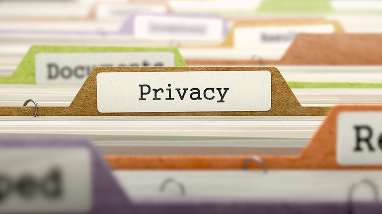 Privacy Concept on Folder Register in Multicolor Card Index. Closeup View. Selective Focus. 3D Render.